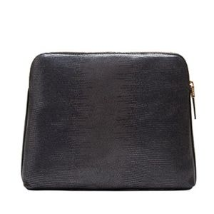 India Hicks insider black lizard clutch